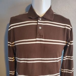 Brown Striped Long Sleeve Rugby Shirt Medium